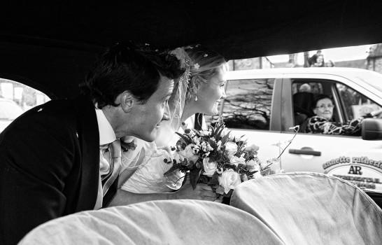 wedding photographer newcastle bride and groom incar