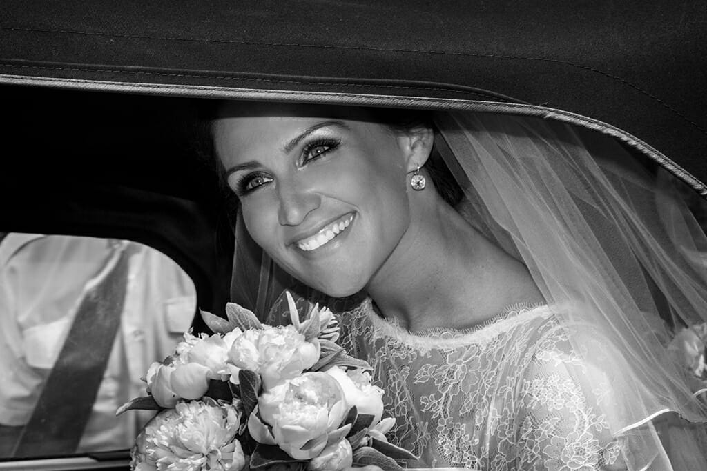 wedding photographer newcastle bride in car