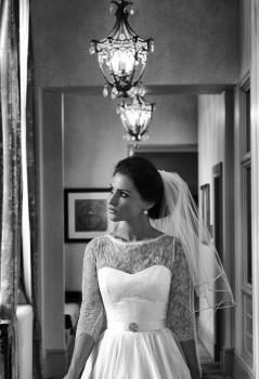 wedding photography bride in hallway at Rockliffe Hall